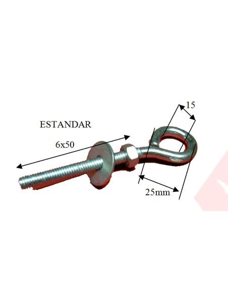 HEMBRILLA CERRADA M6X53MM C/TUERCA Y ARA