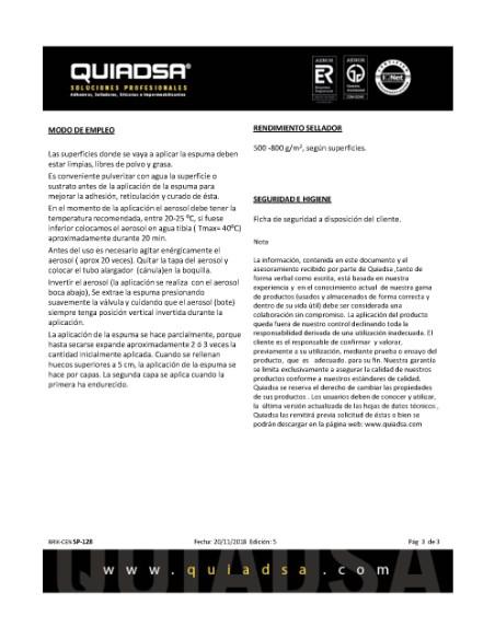 ESPUMA POLIURETANO 750ML SP 128<
