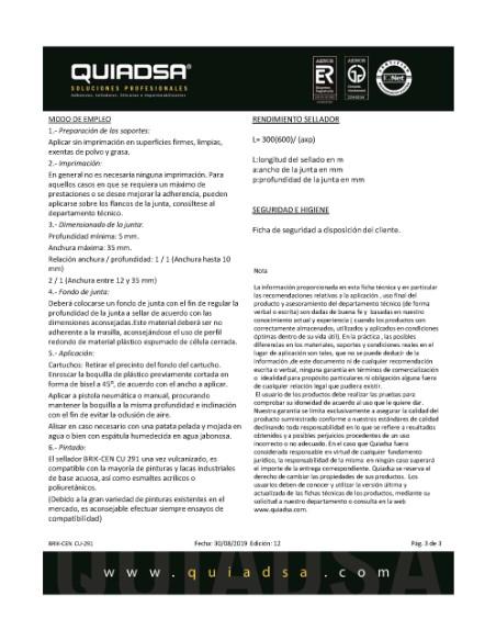 MASILLA POLIURETANO CARTUCHO BLANCA 300ml - QUIADSA<